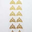 Cartela G Strass Coroa 2 Dourado c/ 20 unidades