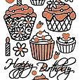 Adesivos Fashion com Glitter Cupcake