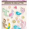 Adesivos com Glitter - Pássaros Estilizados