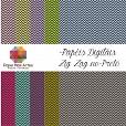 Kit de Papéis Digitais - ZIG ZAG FUNDO PRETO c/ 10 folhas