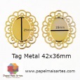 Tag Metal Oval G 42x36mm Dourada c/ 10 unidades