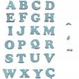 Letra Alfabeto Adesivo Feltro Azul